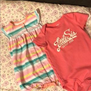 Baby girl bubble suit and onesie